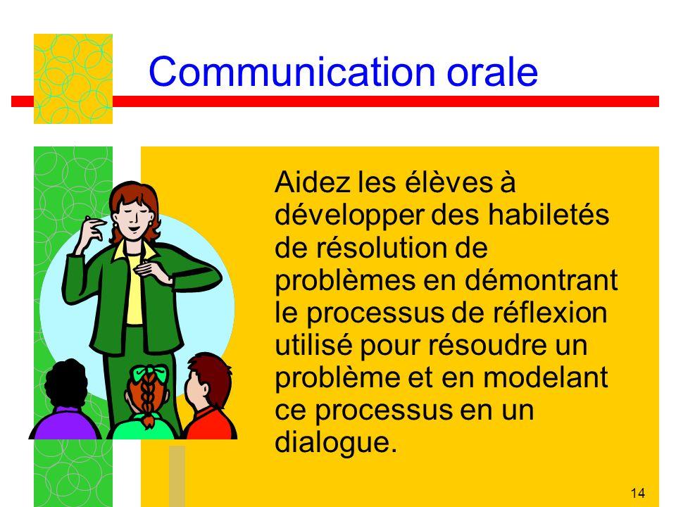 14 Communication orale Aidez les élèves à développer des habiletés de résolution de problèmes en démontrant le processus de réflexion utilisé pour rés