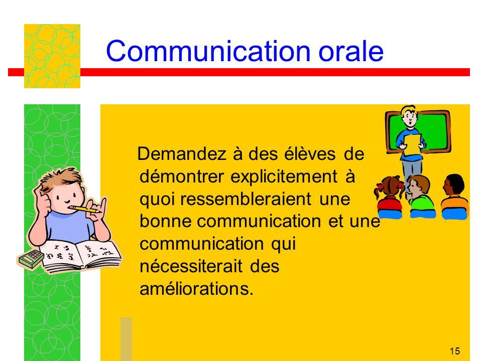 15 Communication orale Demandez à des élèves de démontrer explicitement à quoi ressembleraient une bonne communication et une communication qui nécess