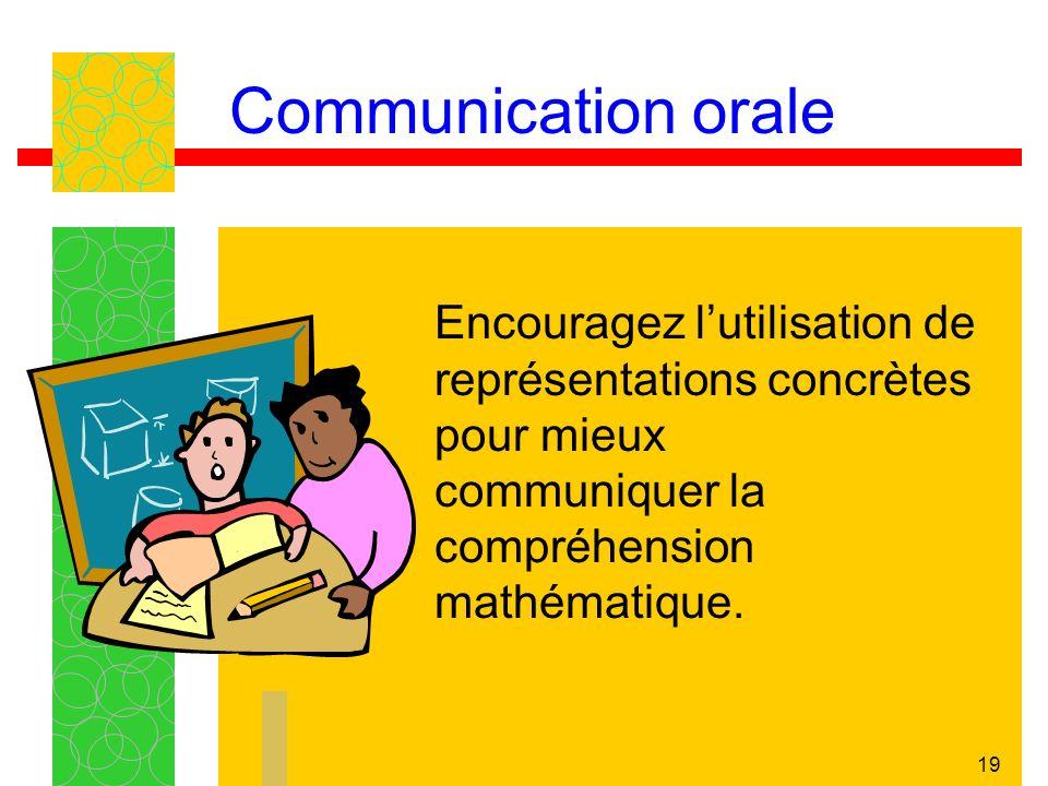 19 Communication orale Encouragez lutilisation de représentations concrètes pour mieux communiquer la compréhension mathématique.