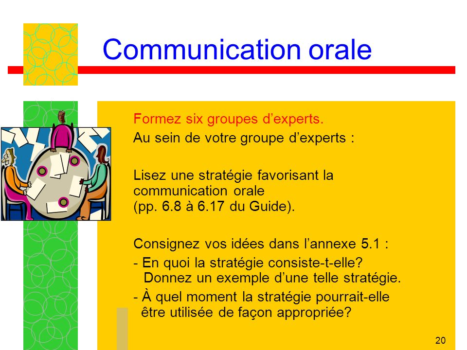 20 Communication orale Formez six groupes dexperts. Au sein de votre groupe dexperts : Lisez une stratégie favorisant la communication orale (pp. 6.8