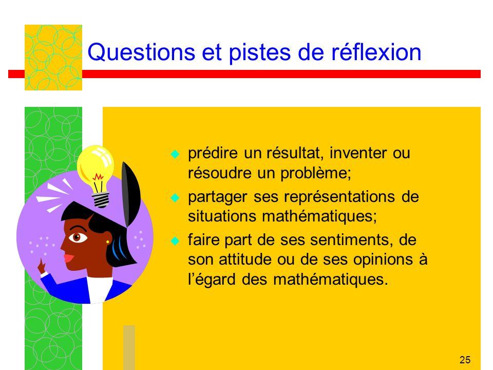 25 prédire un résultat, inventer ou résoudre un problème; partager ses représentations de situations mathématiques; faire part de ses sentiments, de s