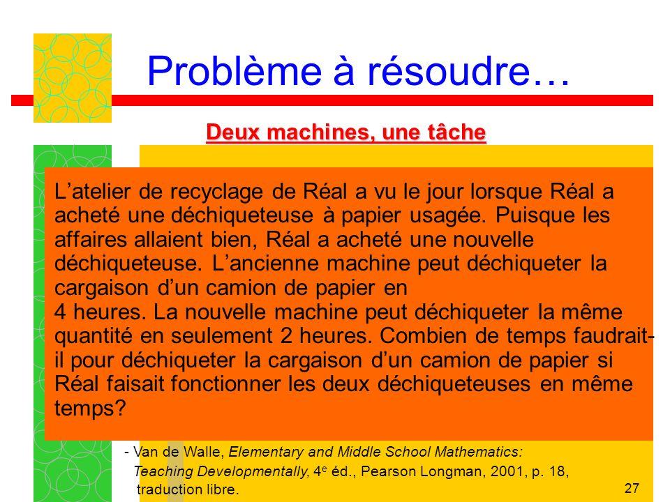 27 Problème à résoudre… Deux machines, une tâche Latelier de recyclage de Réal a vu le jour lorsque Réal a acheté une déchiqueteuse à papier usagée. P