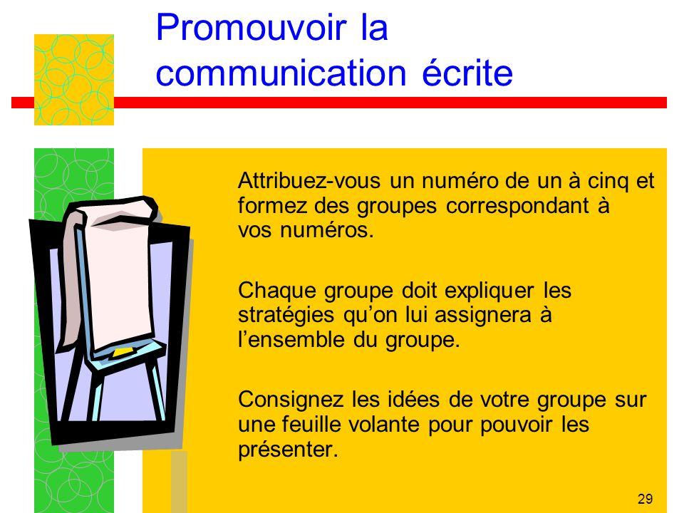 29 Promouvoir la communication écrite Attribuez-vous un numéro de un à cinq et formez des groupes correspondant à vos numéros. Chaque groupe doit expl