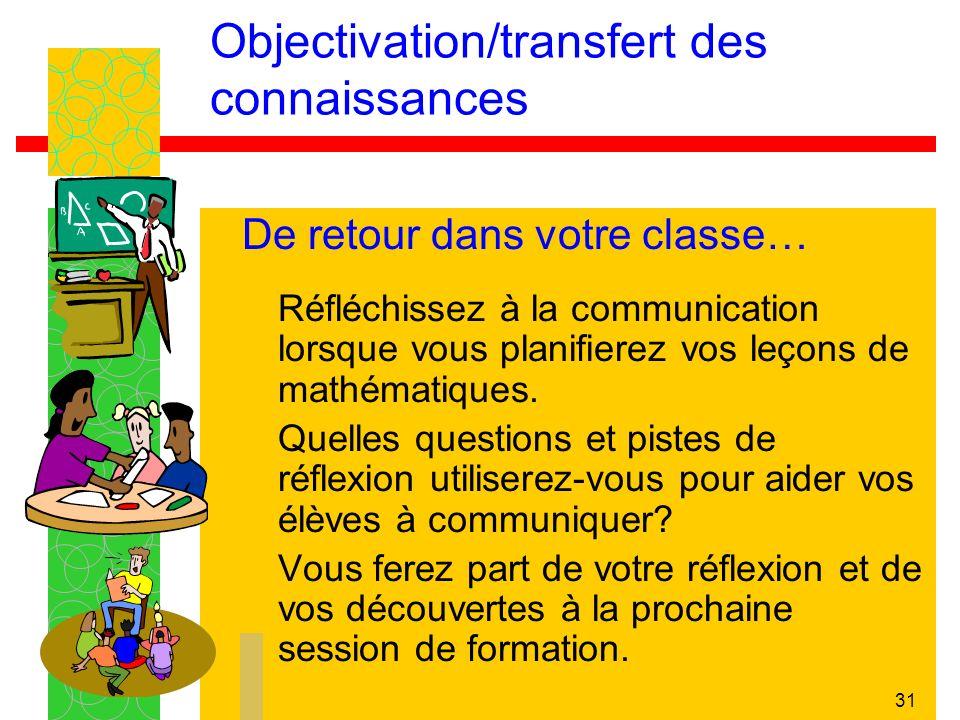 31 Objectivation/transfert des connaissances De retour dans votre classe… Réfléchissez à la communication lorsque vous planifierez vos leçons de mathé