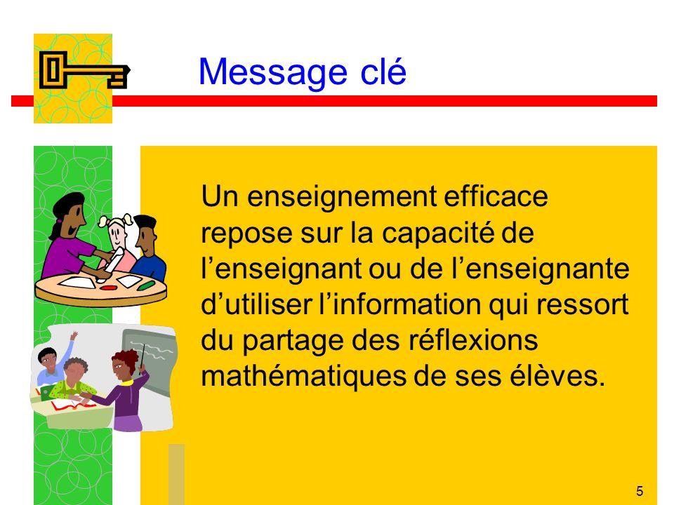5 Message clé Un enseignement efficace repose sur la capacité de lenseignant ou de lenseignante dutiliser linformation qui ressort du partage des réfl