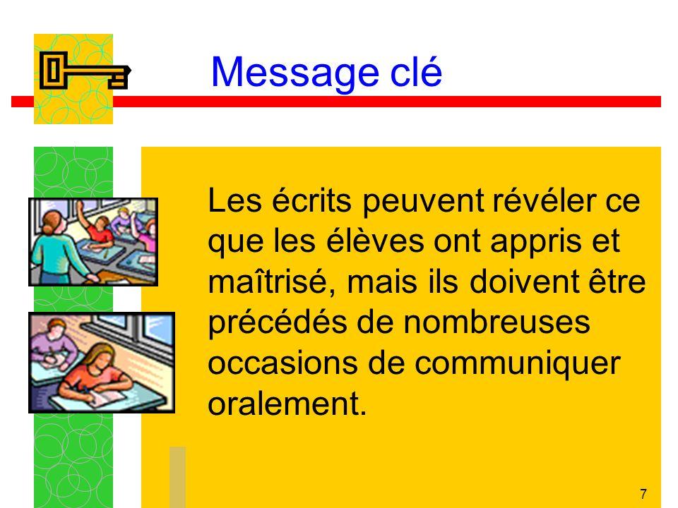 7 Message clé Les écrits peuvent révéler ce que les élèves ont appris et maîtrisé, mais ils doivent être précédés de nombreuses occasions de communiqu