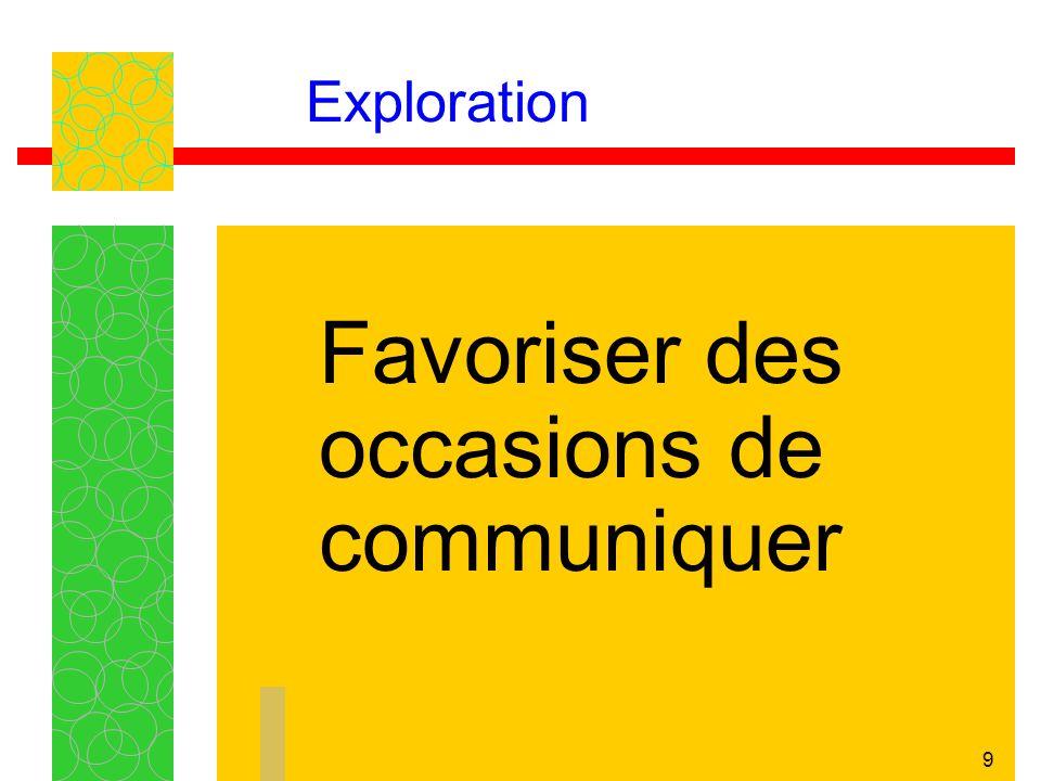 9 Exploration Favoriser des occasions de communiquer
