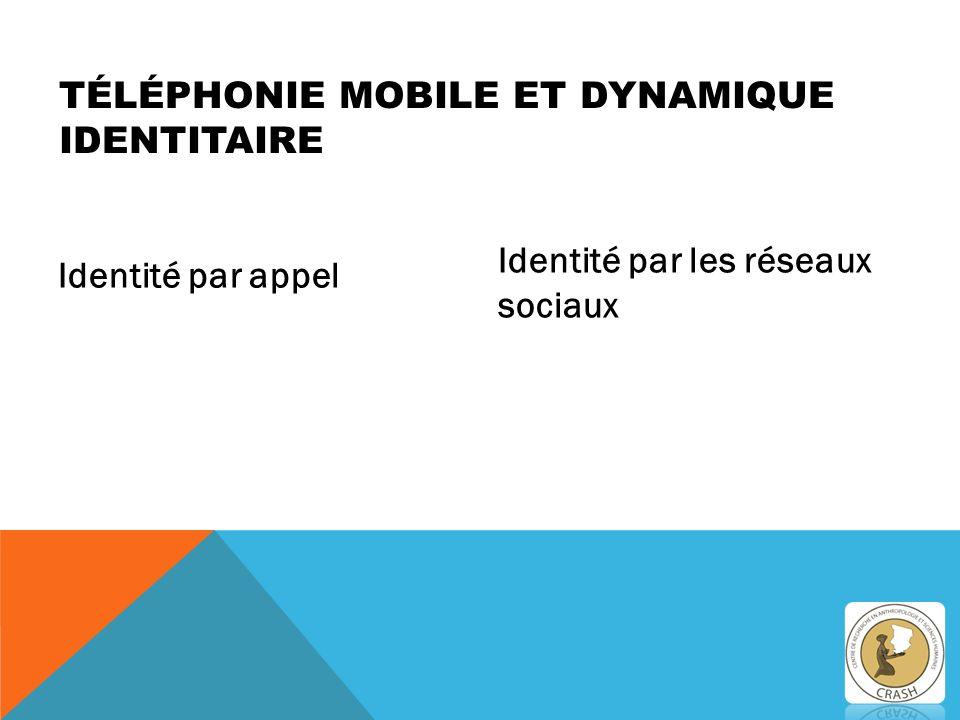 Identité par appel Identité par les réseaux sociaux TÉLÉPHONIE MOBILE ET DYNAMIQUE IDENTITAIRE