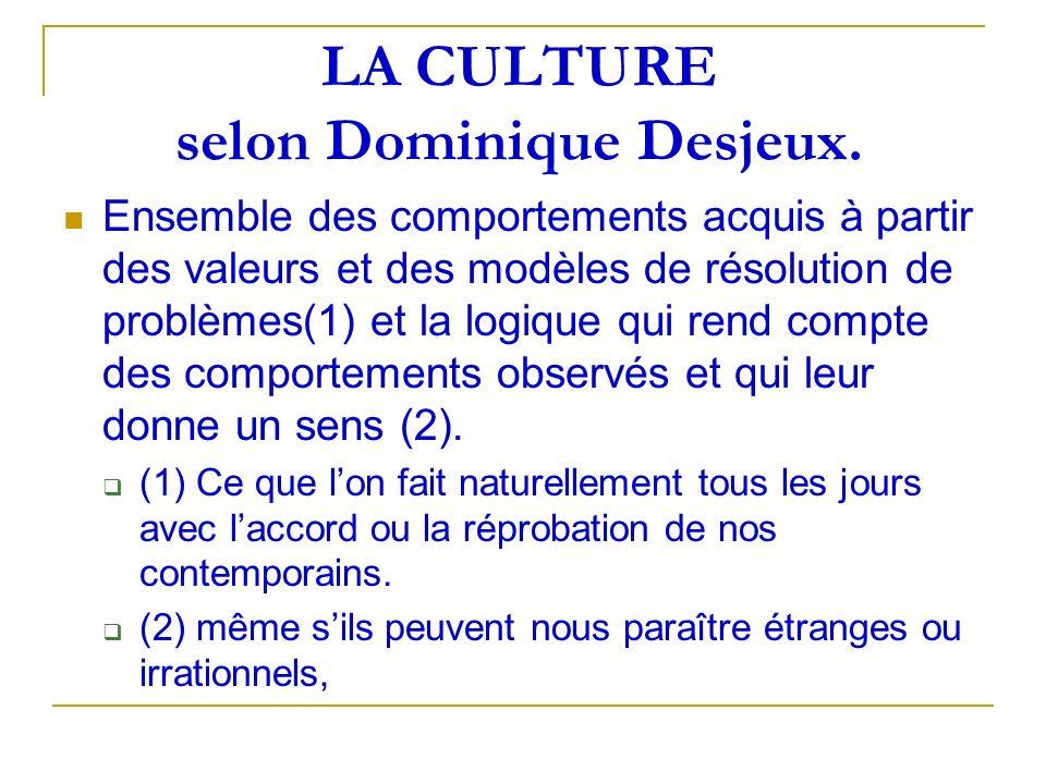LA CULTURE selon Dominique Desjeux. Ensemble des comportements acquis à partir des valeurs et des modèles de résolution de problèmes(1) et la logique