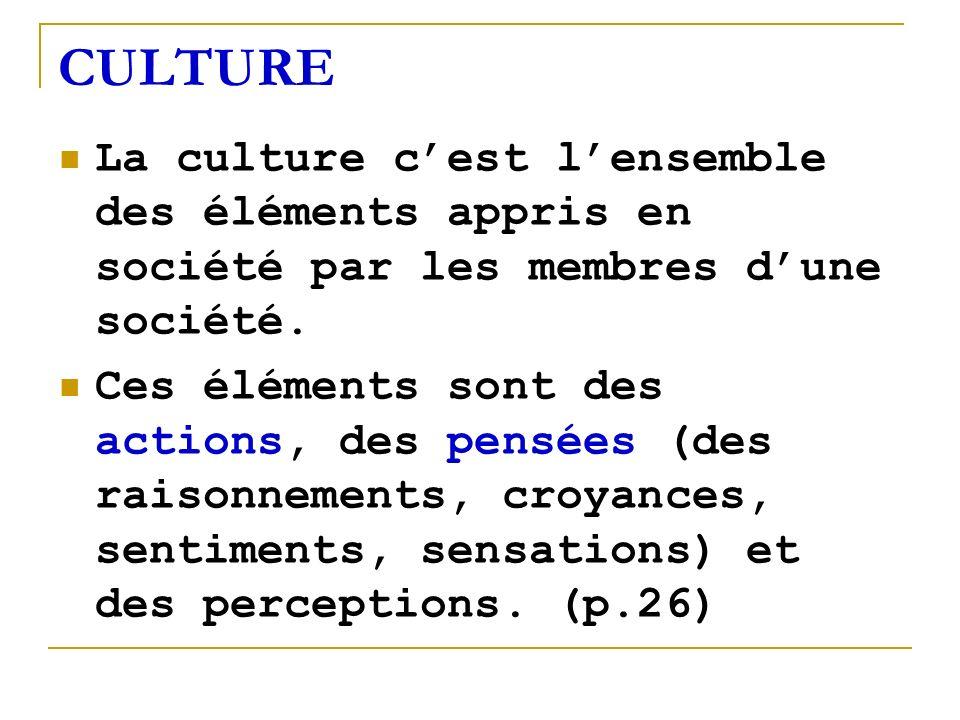 CULTURE La culture cest lensemble des éléments appris en société par les membres dune société. Ces éléments sont des actions, des pensées (des raisonn