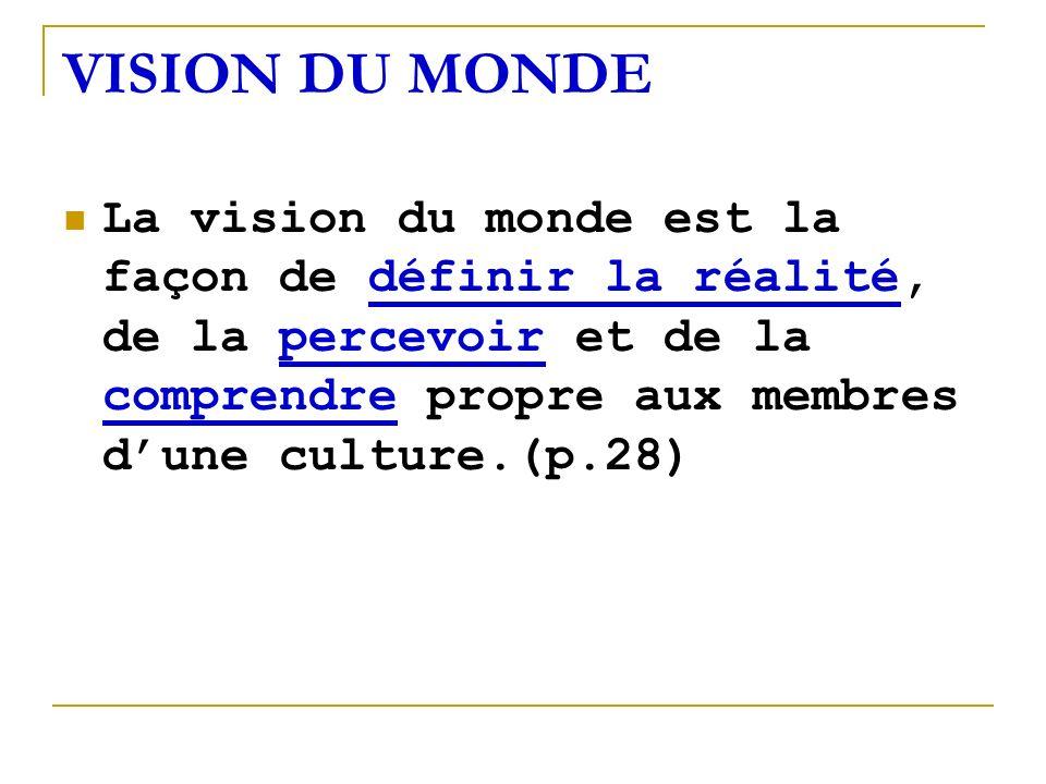 VISION DU MONDE La vision du monde est la façon de définir la réalité, de la percevoir et de la comprendre propre aux membres dune culture.(p.28)