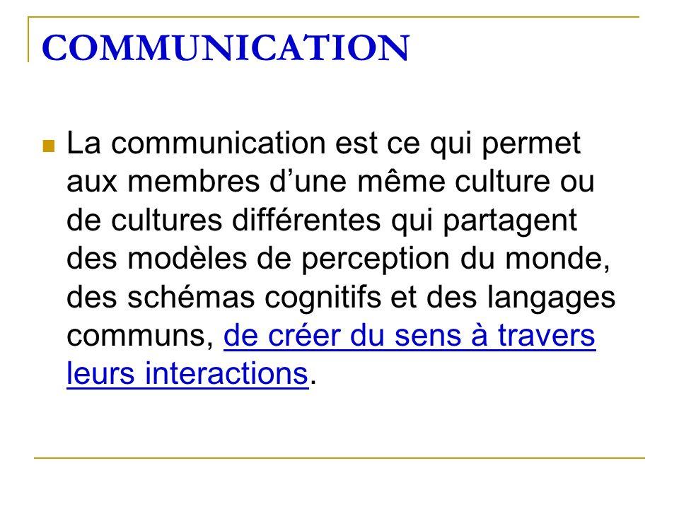 COMMUNICATION La communication est ce qui permet aux membres dune même culture ou de cultures différentes qui partagent des modèles de perception du m