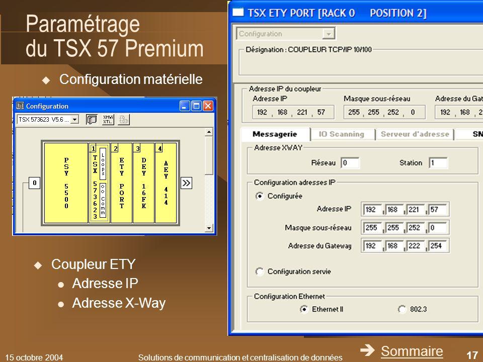 15 octobre 2004Solutions de communication et centralisation de données 17 Paramétrage du TSX 57 Premium Configuration matérielle Sommaire Coupleur ETY