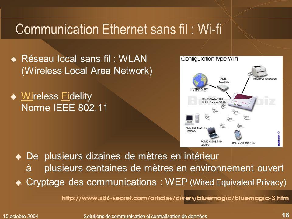 15 octobre 2004Solutions de communication et centralisation de données 18 Communication Ethernet sans fil : Wi-fi Réseau local sans fil : WLAN (Wirele