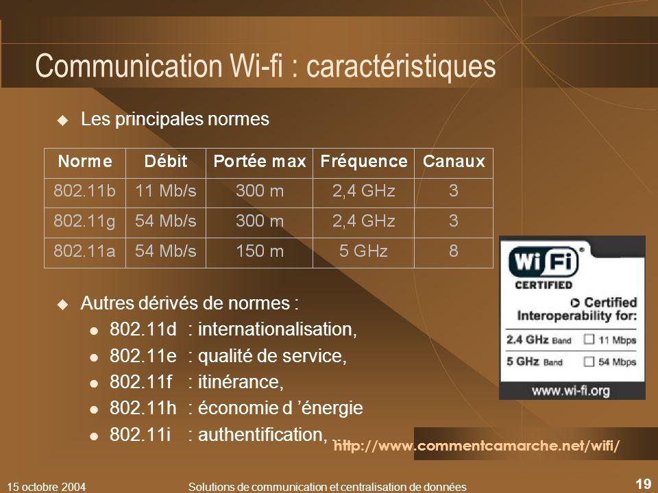15 octobre 2004Solutions de communication et centralisation de données 19 Communication Wi-fi : caractéristiques Les principales normes Autres dérivés
