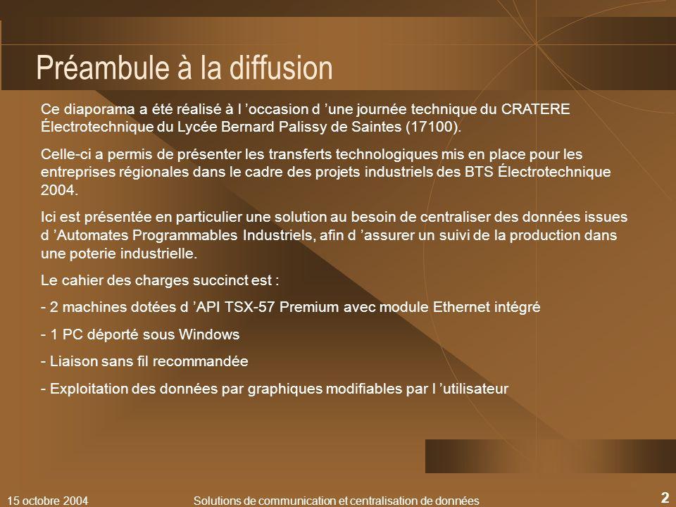 15 octobre 2004Solutions de communication et centralisation de données 2 Préambule à la diffusion Ce diaporama a été réalisé à l occasion d une journé