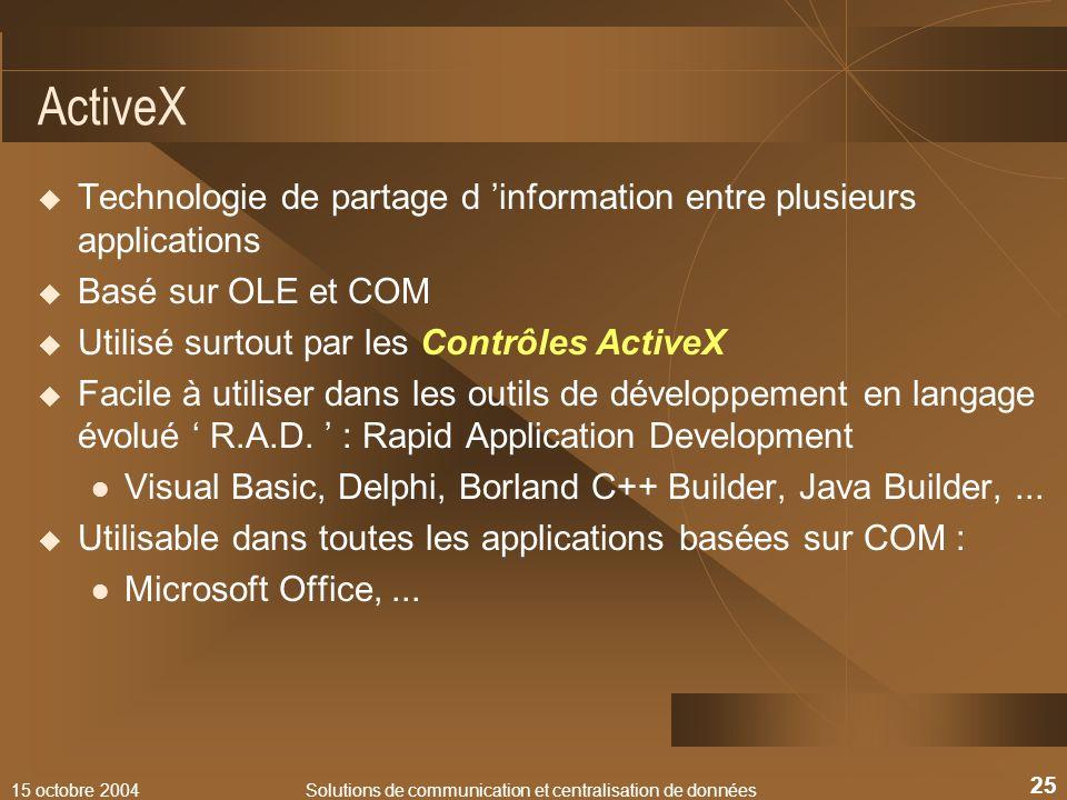 15 octobre 2004Solutions de communication et centralisation de données 25 ActiveX Technologie de partage d information entre plusieurs applications Ba