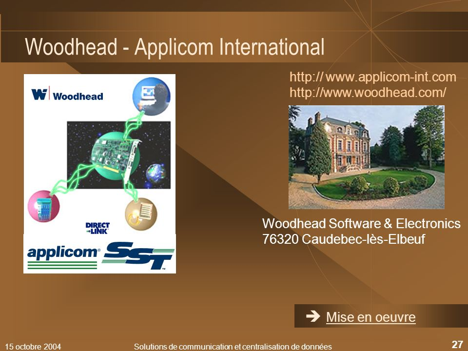 15 octobre 2004Solutions de communication et centralisation de données 27 Woodhead - Applicom International http:// www.applicom-int.com http://www.wo