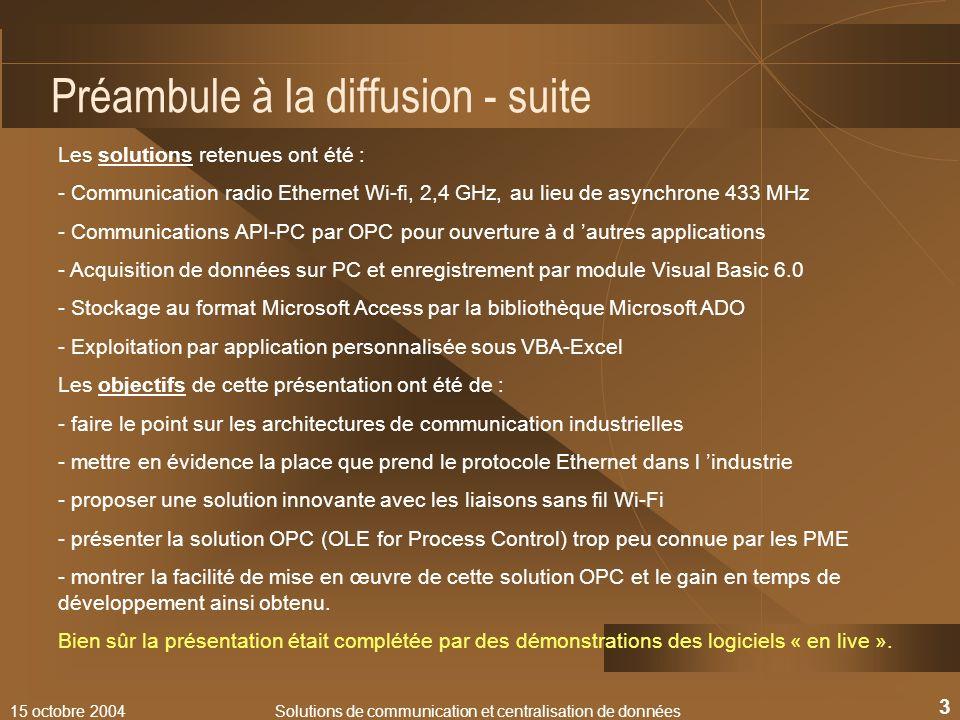 15 octobre 2004Solutions de communication et centralisation de données 3 Préambule à la diffusion - suite Les solutions retenues ont été : - Communica
