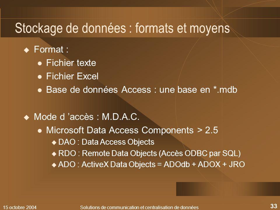 15 octobre 2004Solutions de communication et centralisation de données 33 Stockage de données : formats et moyens Format : Fichier texte Fichier Excel
