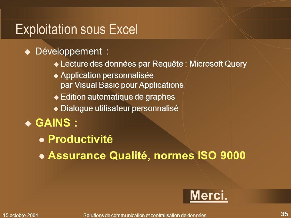 15 octobre 2004Solutions de communication et centralisation de données 35 Exploitation sous Excel Développement : Lecture des données par Requête : Mi