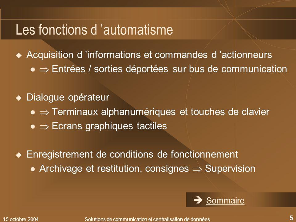 15 octobre 2004Solutions de communication et centralisation de données 5 Les fonctions d automatisme Acquisition d informations et commandes d actionn