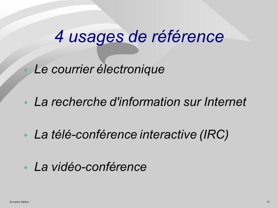 14Socrates Mailbox 4 usages de référence s Le courrier électronique s La recherche d'information sur Internet s La télé-conférence interactive (IRC) s