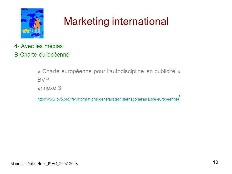 10 Marketing international Marie-Josèphe Nuel_ISEG_2007-2008 4- Avec les médias B-Charte européenne « Charte européenne pour lautodiscipline en public