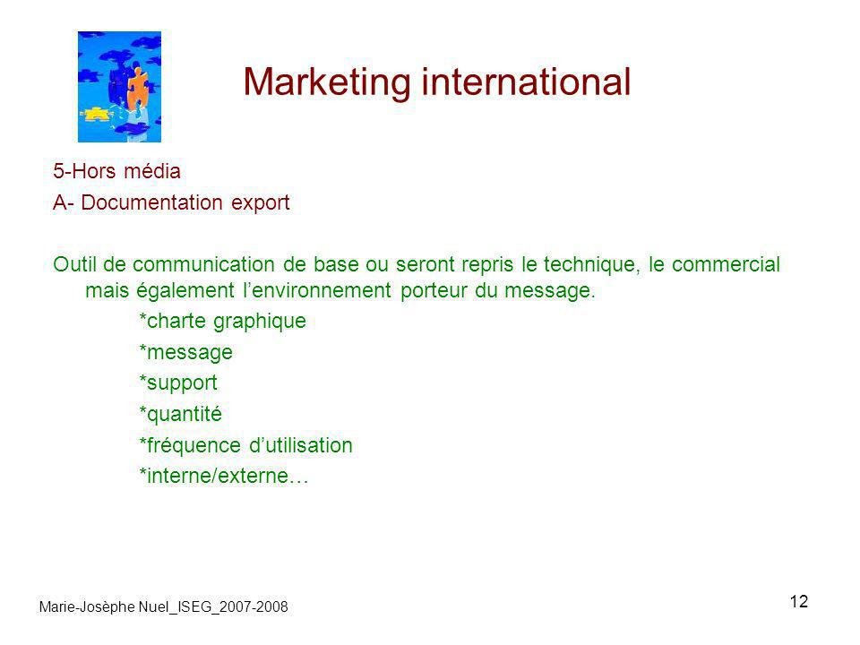 12 Marketing international Marie-Josèphe Nuel_ISEG_2007-2008 5-Hors média A- Documentation export Outil de communication de base ou seront repris le technique, le commercial mais également lenvironnement porteur du message.