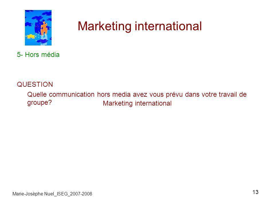 13 Marketing international Marie-Josèphe Nuel_ISEG_2007-2008 5- Hors média QUESTION Quelle communication hors media avez vous prévu dans votre travail