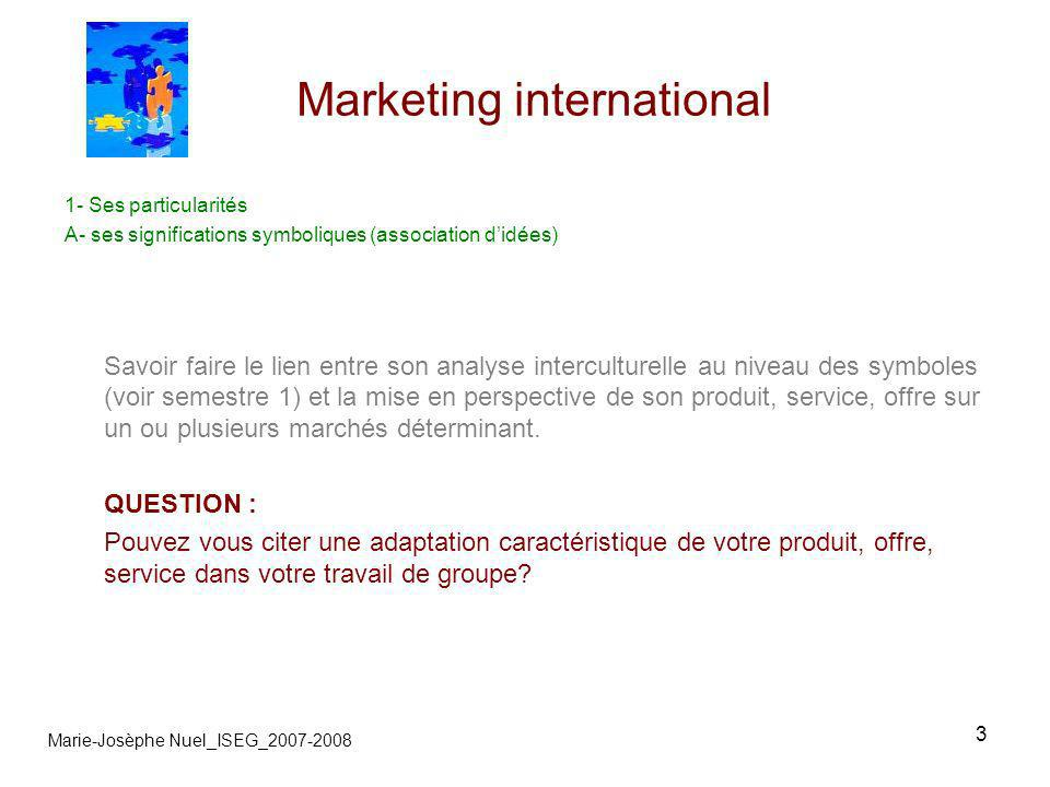 3 Marketing international Marie-Josèphe Nuel_ISEG_2007-2008 1- Ses particularités A- ses significations symboliques (association didées) Savoir faire