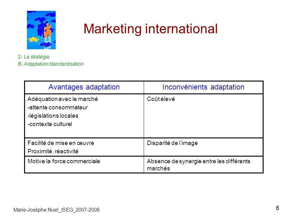 6 Marketing international 2- La stratégie B- Adaptation/standardisation Marie-Josèphe Nuel_ISEG_2007-2008 Avantages adaptationInconvénients adaptation