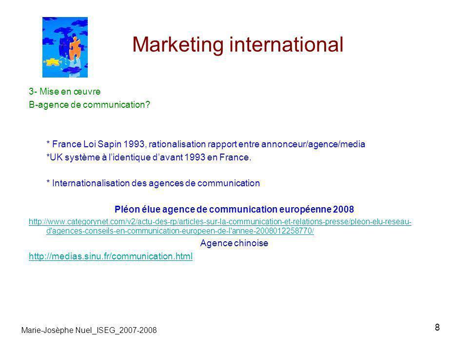 9 Marketing international Marie-Josèphe Nuel_ISEG_2007-2008 4- Avec les médias A- Publicité En B to C : « Mode de consommation, lEurope unie.