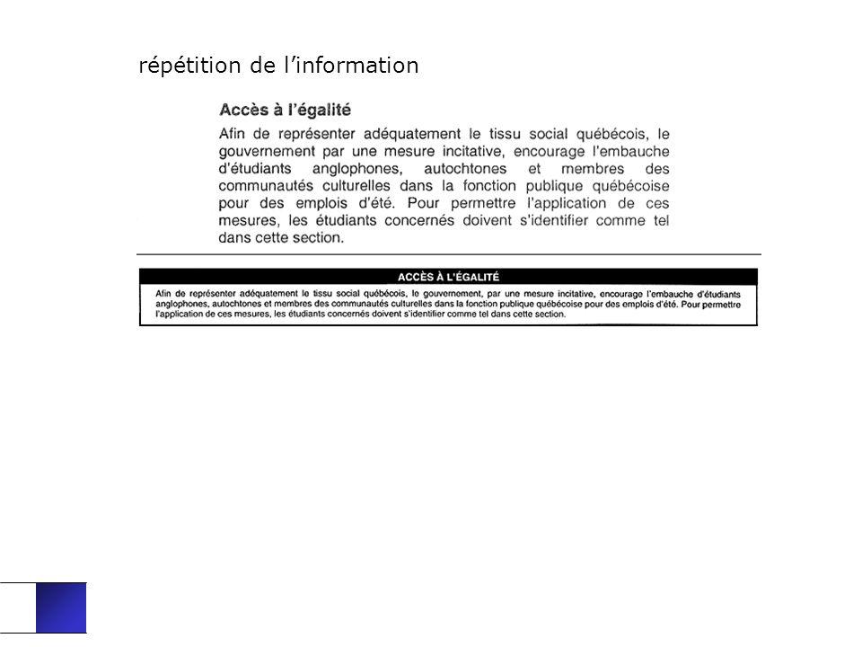 répétition de linformation