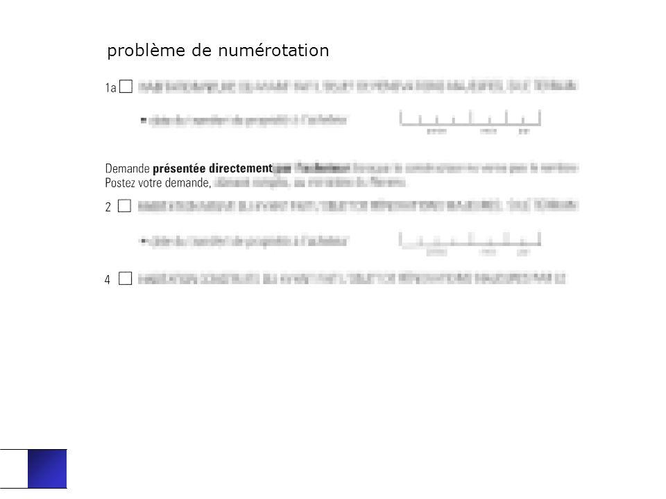 problème de numérotation