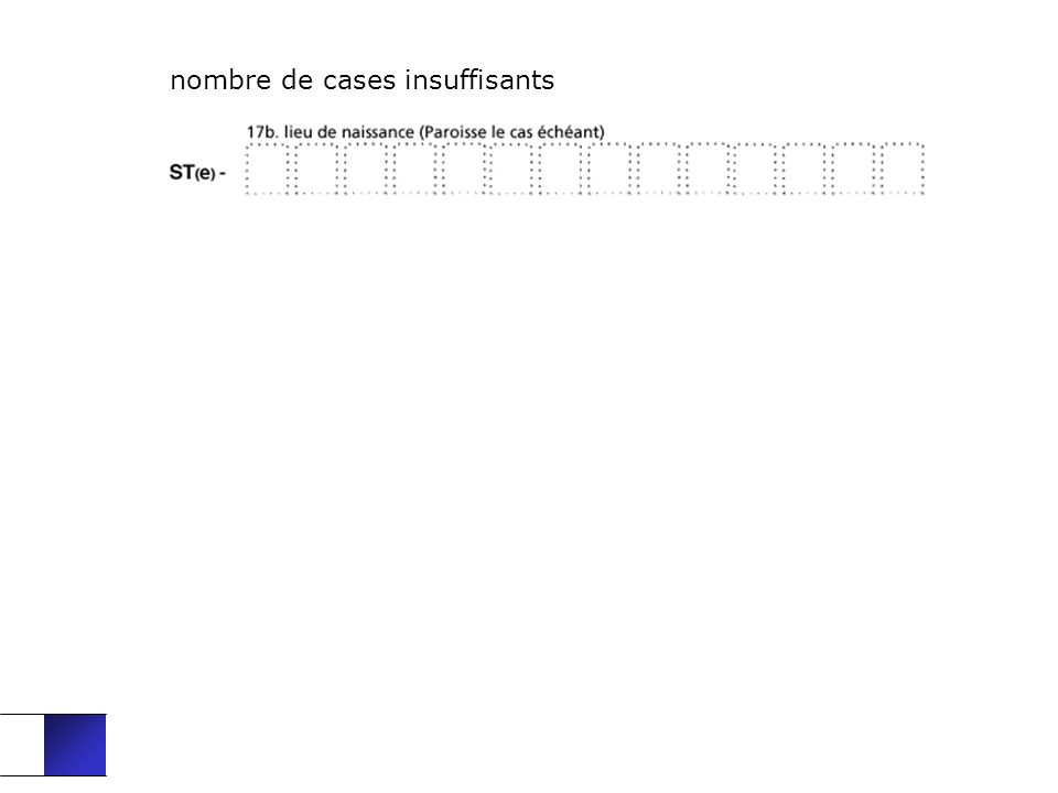 nombre de cases insuffisants