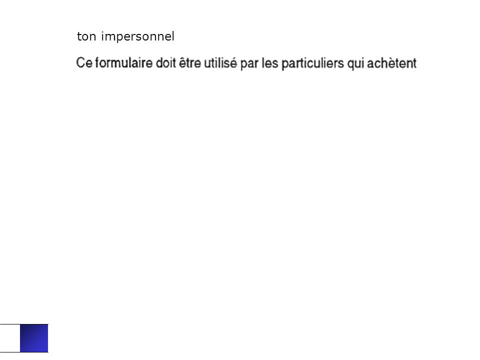 ton impersonnel