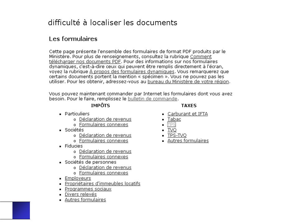 difficulté à localiser les documents