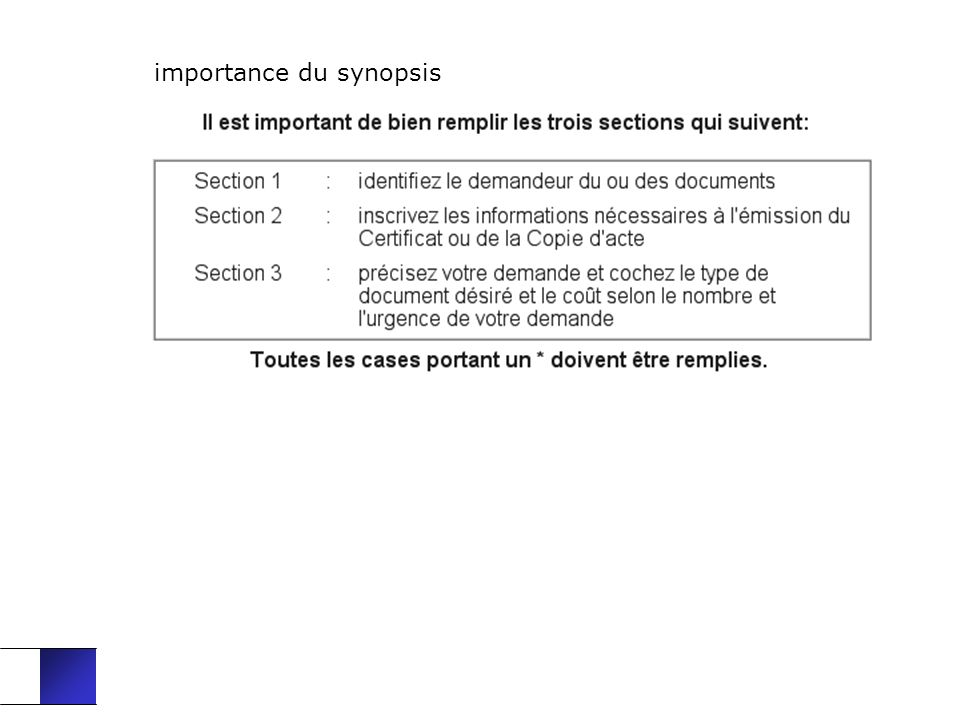 importance du synopsis