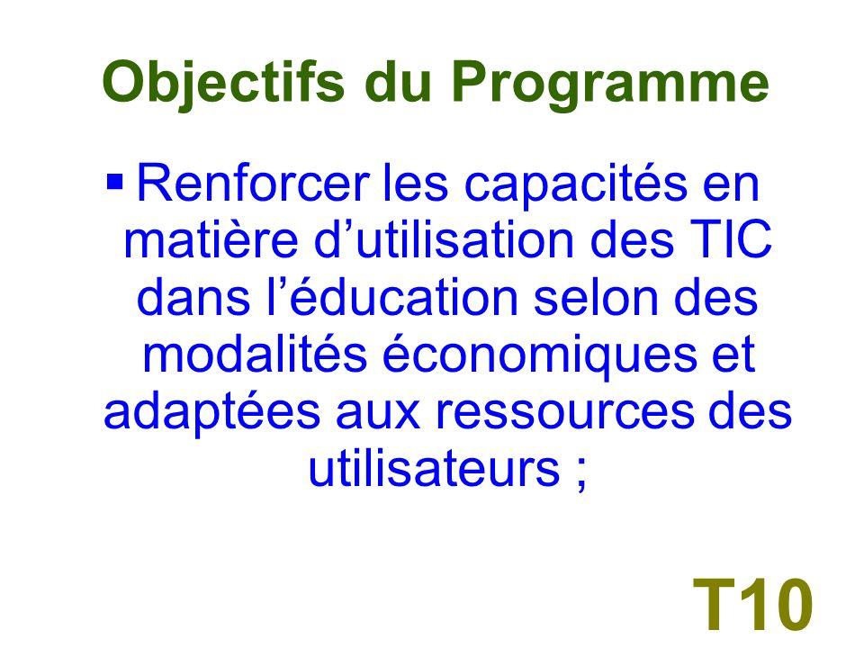 Objectifs du Programme Les objectifs dont sest fixé lInstitut à travers le programme durant lannée 2005 sont : T9