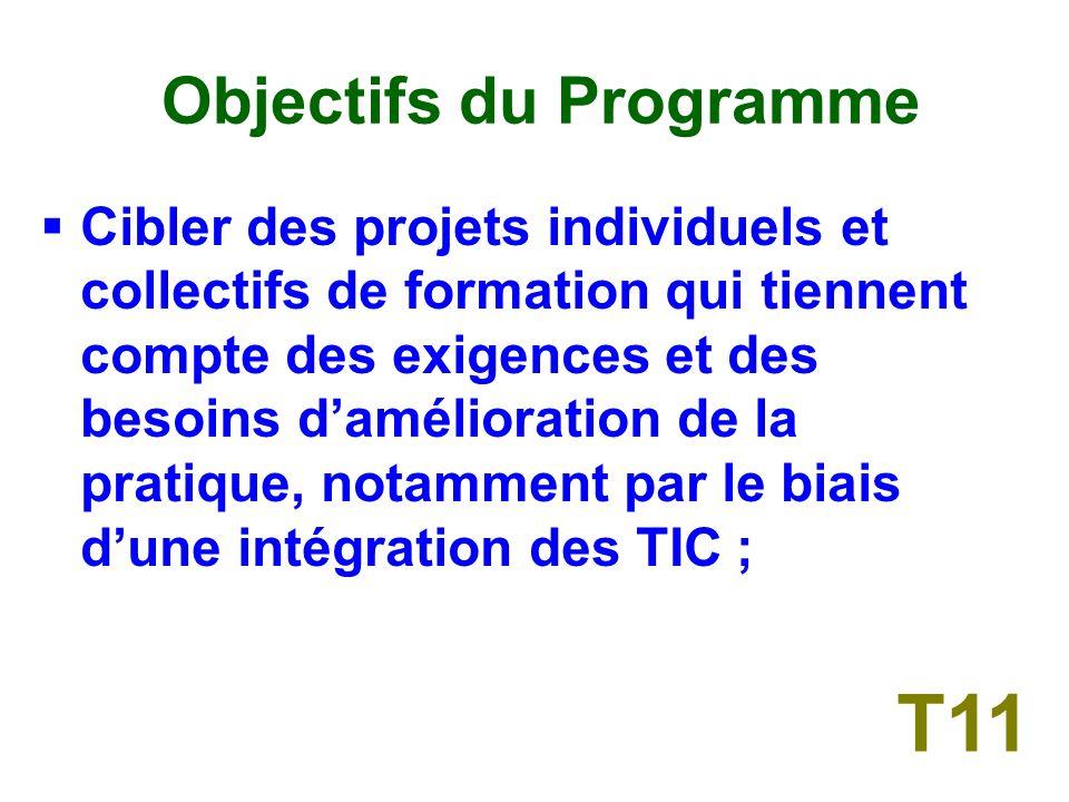 Objectifs du Programme Renforcer les capacités en matière dutilisation des TIC dans léducation selon des modalités économiques et adaptées aux ressources des utilisateurs ; T10