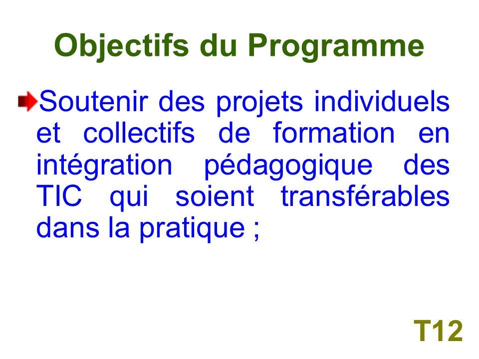 Objectifs du Programme Cibler des projets individuels et collectifs de formation qui tiennent compte des exigences et des besoins damélioration de la pratique, notamment par le biais dune intégration des TIC ; T11