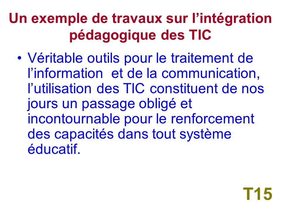 III Un exemple de travaux sur lintégration pédagogique des TIC T14