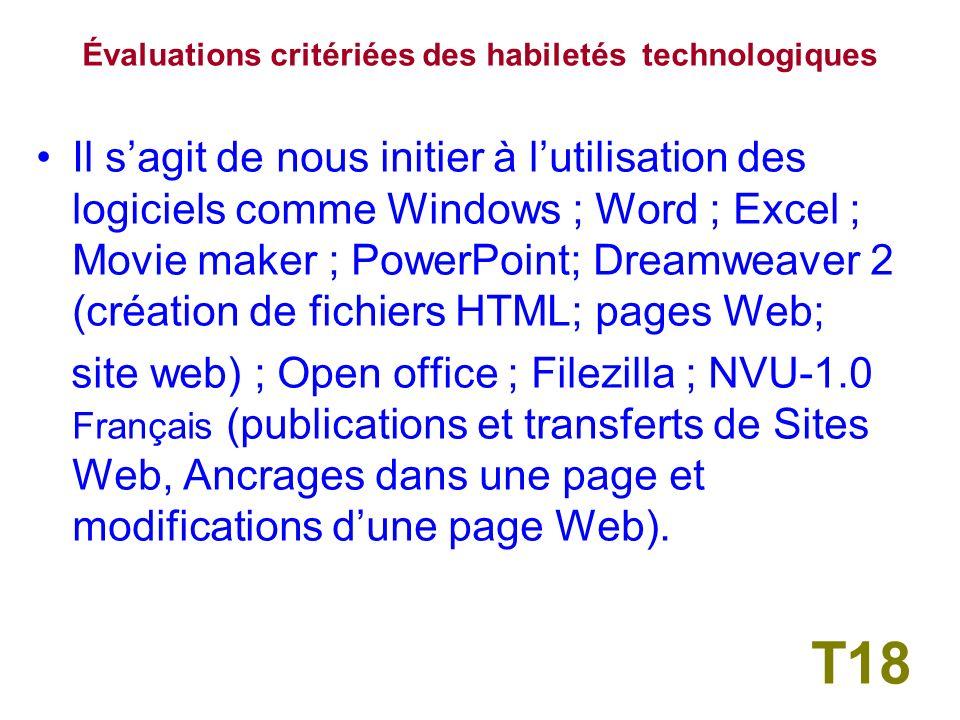 1-/ Pratiques Pédagogiques et TIC Évaluations critériées des habiletés technologiques T17
