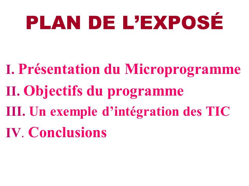 PLAN DE LEXPOSÉ I.Présentation du Microprogramme II.