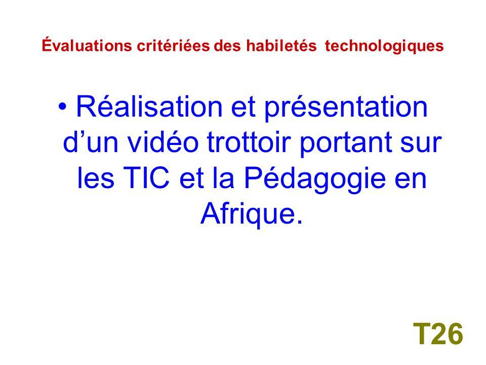 Évaluations critériées des habiletés technologiques Réalisation dun travail danalyse vidéo de lenseignement en Afrique.