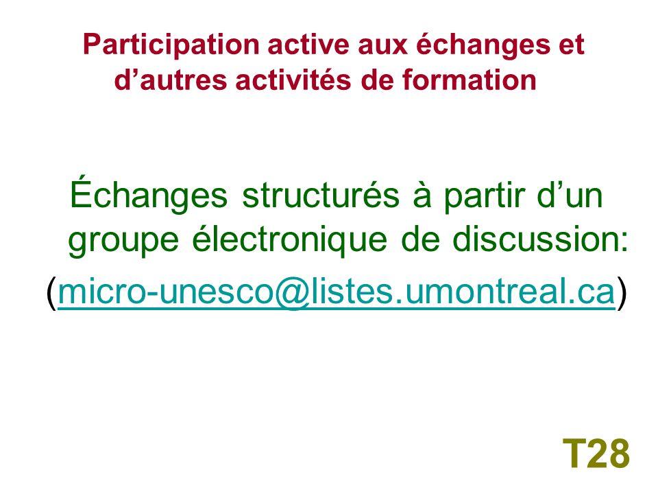 2 – Participation active aux échanges et dautres activités de formation T27
