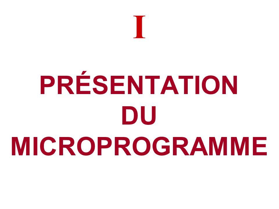 PLAN DE LEXPOSÉ I. Présentation du Microprogramme II.