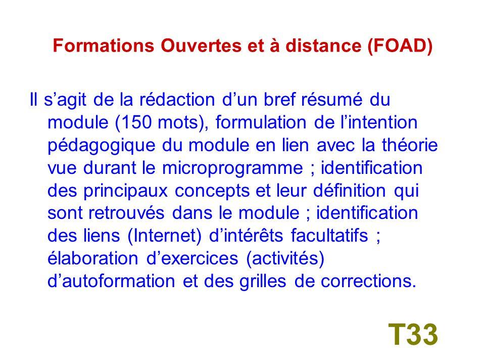 Formations Ouvertes et à distance (FOAD) Réalisation et mise en ligne dun module de formation à distance T32