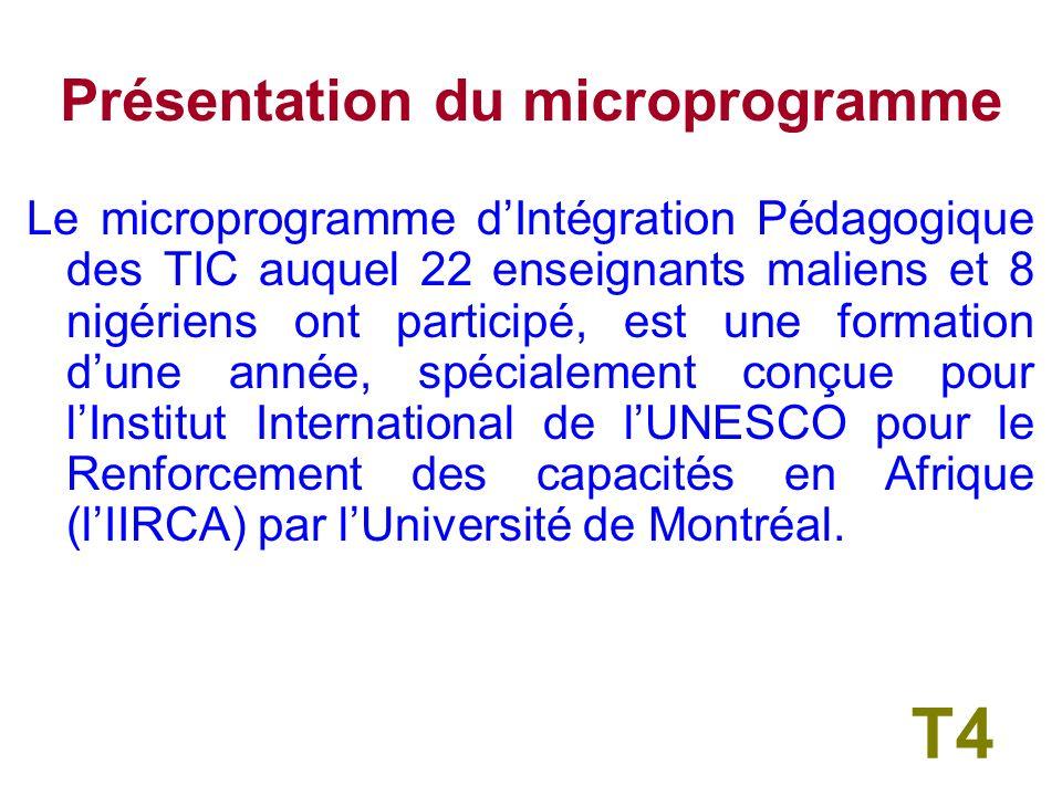 Présentation du microprogramme Le microprogramme dIntégration Pédagogique des TIC auquel 22 enseignants maliens et 8 nigériens ont participé, est une formation dune année, spécialement conçue pour lInstitut International de lUNESCO pour le Renforcement des capacités en Afrique (lIIRCA) par lUniversité de Montréal.